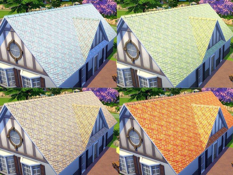 """Покрытия для крыши """"Чешуя"""" от matomibotaki для Sims 4"""