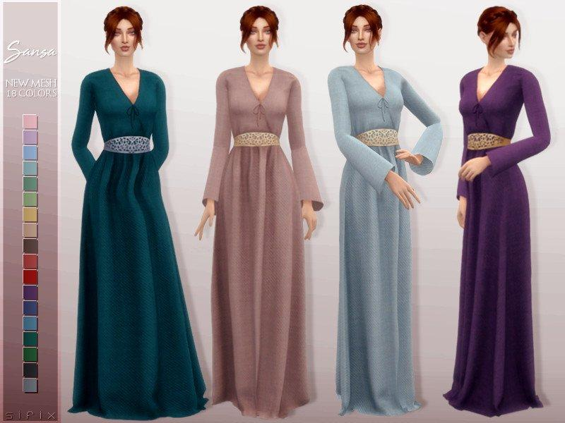 Платье Сансы Старк от Sifix для Sims 4