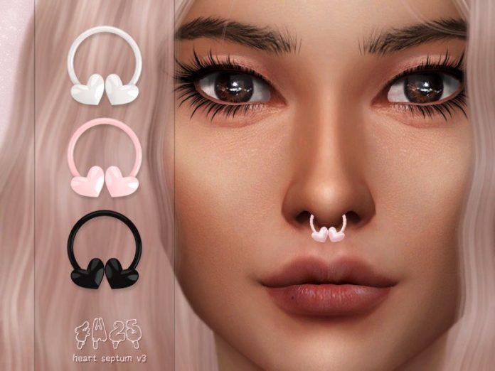 Пирсинг в нос с сердечками от 4w25 Sims для Sims 4