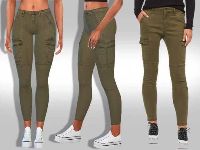 Женские джинсы скини с накладными карманами от Saliwa для Sims 4