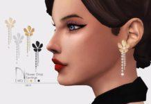 Серьги в форме цветка с жемчугом от DarkNighTt для Sims 4