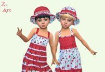 Детский сарафан и шляпка с ягодками от Zuckerschnute20 для Sims 4