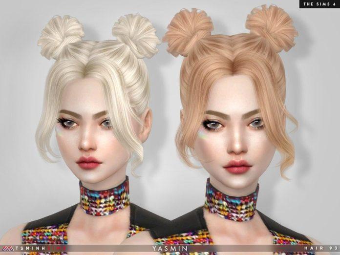Женская прическа Yasmin от TsminhSims для Sims 4