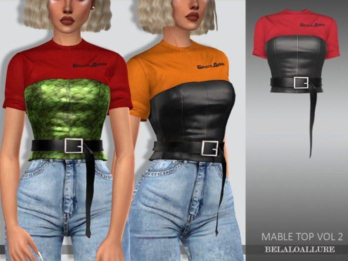 Топ с кожаным корсетом от belal1997 для Sims 4
