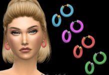 Цветные серьги-кольца от NataliS для Sims 4