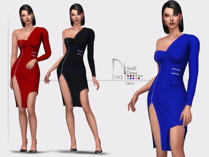Платье-миди VodS от DarkNighTt для Sims 4