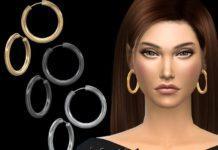 Крупные серьги-кольца от NataliS для Sims 4