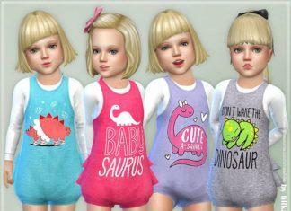Детский комбинезон с динозаврами от lillka для Sims 4