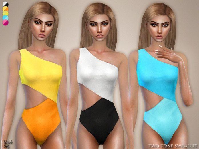 Двухцветные слитный купальник от Black Lily для Sims 4
