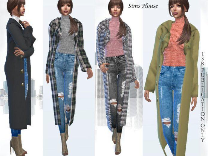 Длинное женское пальто от Sims House для Sims 4