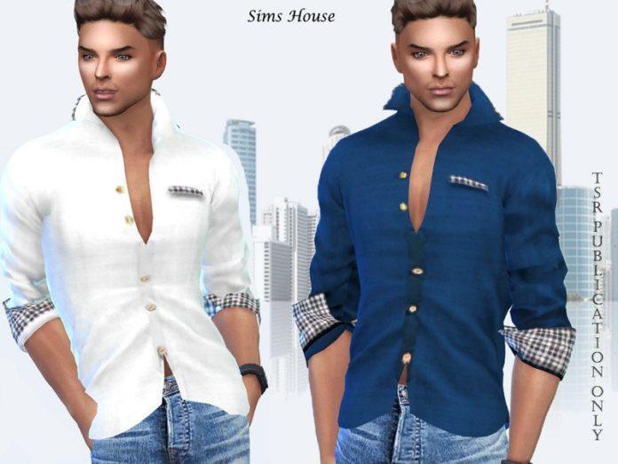 Мужская рубашка с цветными вставками от Sims House для Sims 4