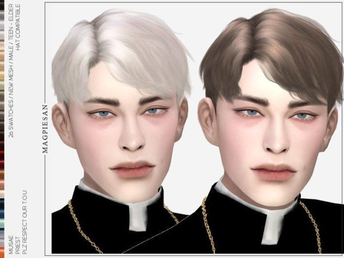 Мужская прическа священника от Magpiesan для Sims 4