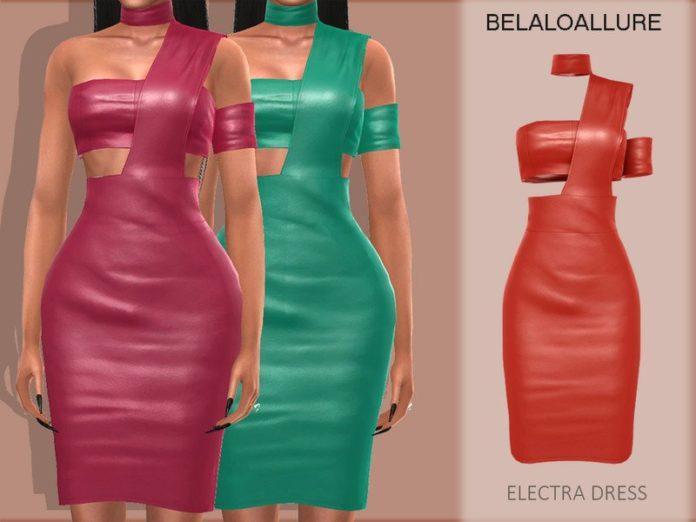 Кожаные платья от belal1997 для Sims 4