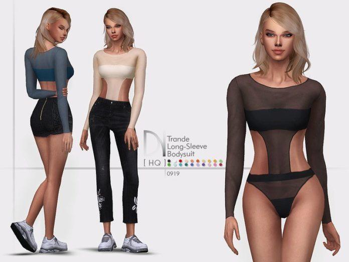 Универсальный топ с длинными рукавами от DarkNighTt для Sims 4