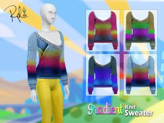 Градиентный вязаный свитер от RobertaPLobo для Sims 4