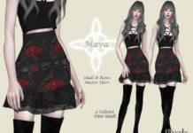 Черная готическая юбка от Helsoseira для Sims 4