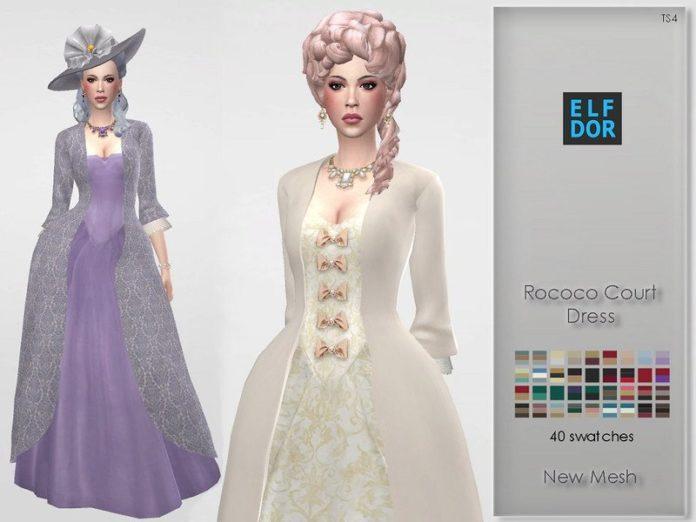 Платье стиля Рококо от Elfdor для Sims 4