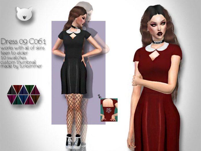 Платье готического стиля от turksimmer для Sims 4