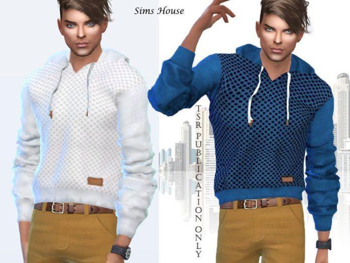 Мужская толстовка с капюшоном от Sims House для Sims 4