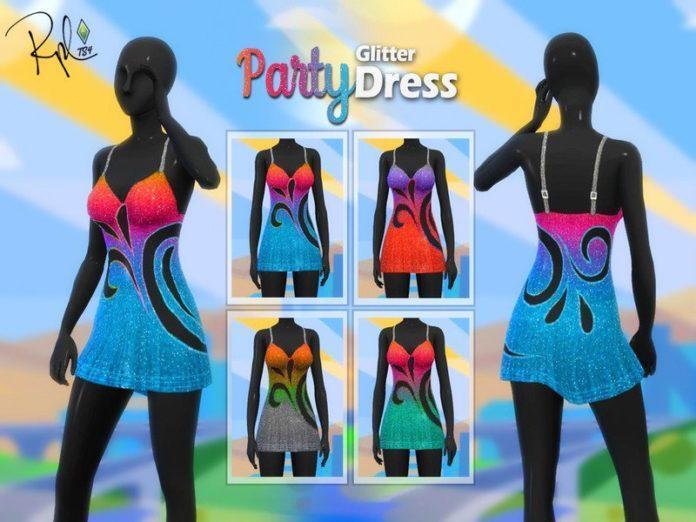 Блестящие платья с глиттером от RobertaPLobo для Sims 4