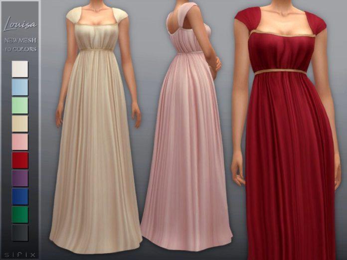Вечернее платье «Луиза» от Sifix для Sims 4