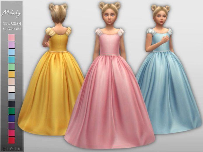 Бальное платье для девочек от Sifix для Sims 4