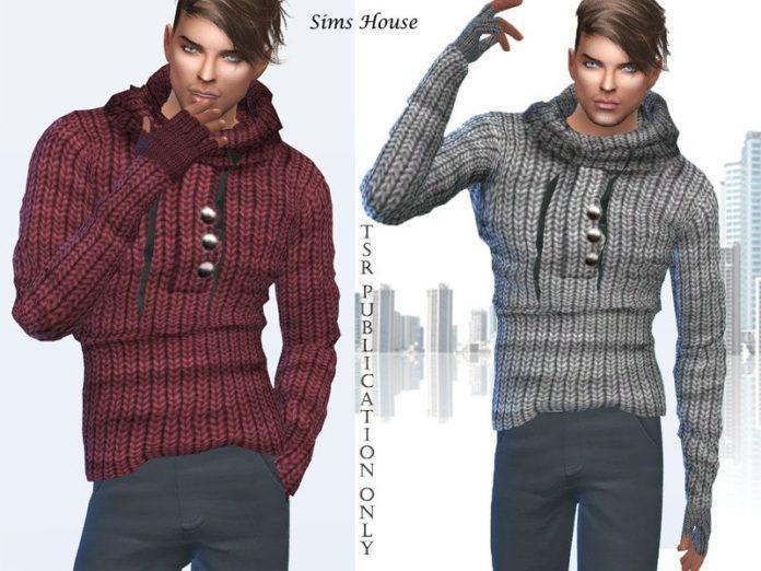 Мужской вязаный свитер от Sims House для Sims 4