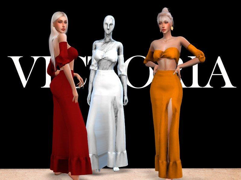 Вечернее платье «Виктория» от Viy Sims для Sims 4