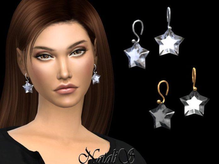 Серьги с кристаллом «Звезда» от NataliS для Sims 4