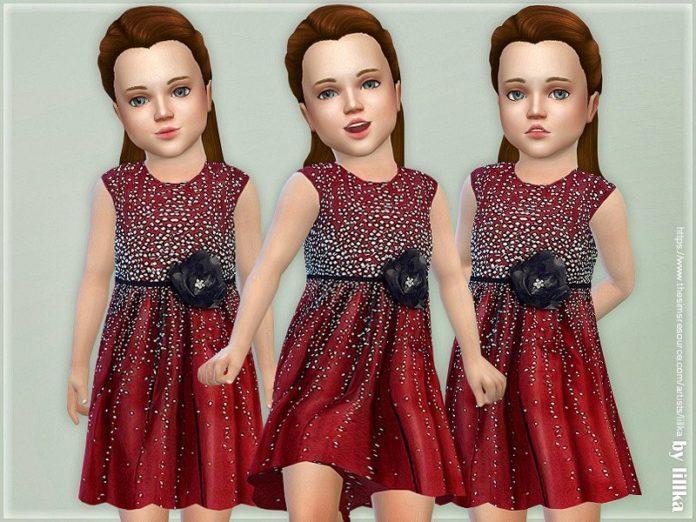 Бордовое платье для девочек от lillka для Sims 4
