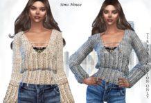 Вязаная блузка со шнуровкой от Sims House для Sims 4