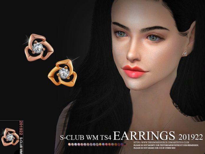 Бриллиантовые серьги от S-Club для Sims 4