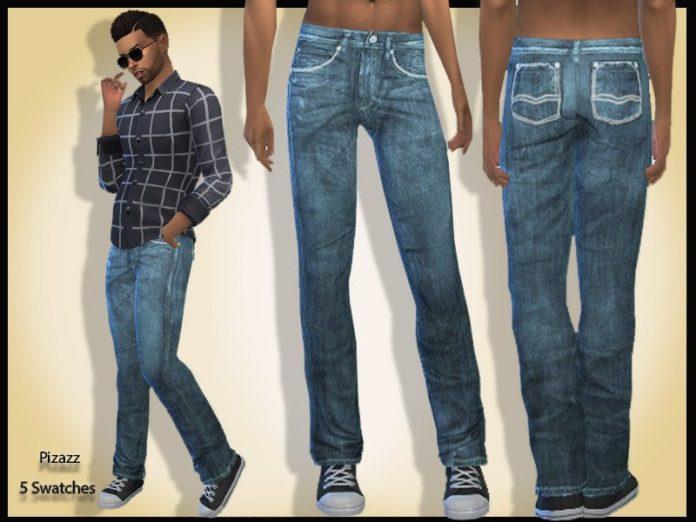 Мужские джинсы V-001 от Pizazz для Sims 4