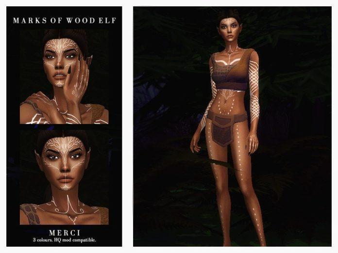 Татуировки темных эльфов от -Merci- для Sims 4