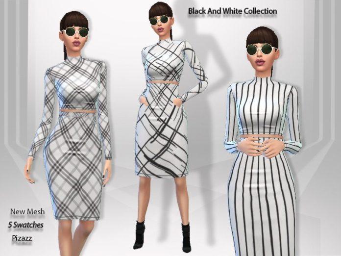 Черно-белое платье от Pizazz для Sims 4