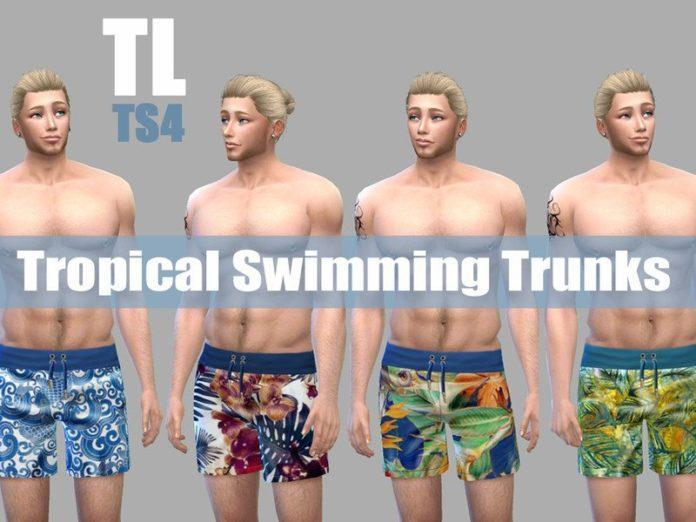 Мужские плавки «Тропики» от TitusLinde для Sims 4