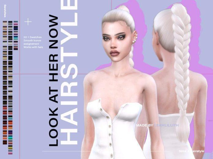 Прическа «Длинная коса» от Leah Lillith для Sims 4