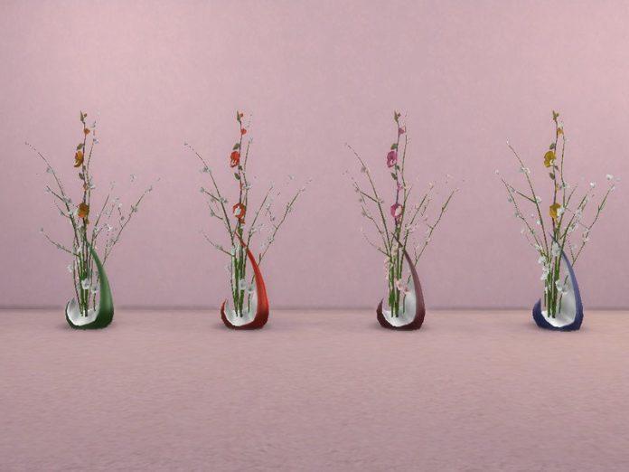 Декор «Ветки розы в вазе» от TrudieOpp для Sims 4