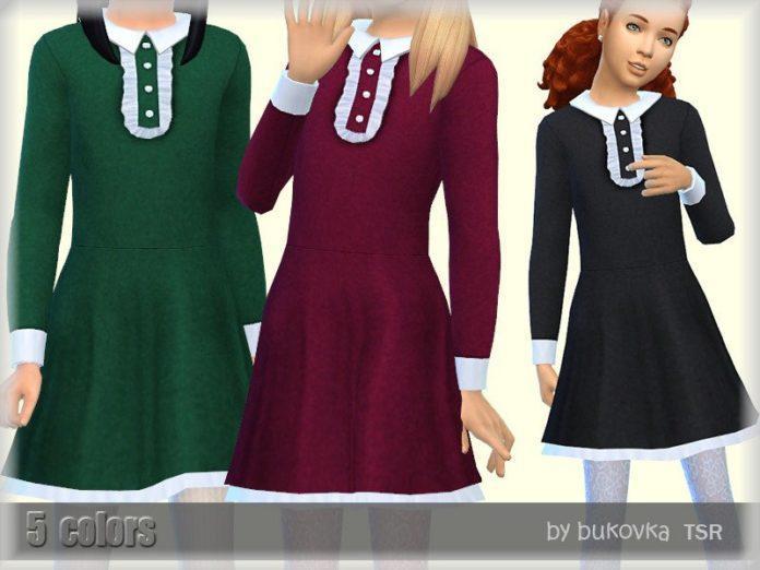 Консервативное платье для девочек от Bukovka для Sims 4