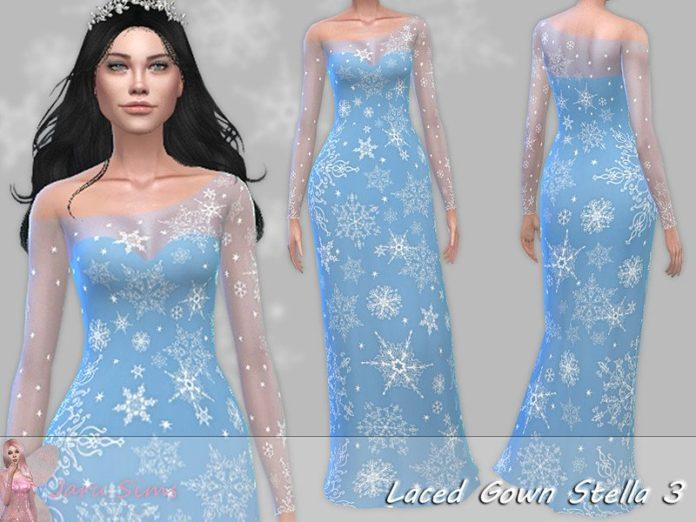 Праздничное платье «Стелла» от Jaru Sims для Sims 4