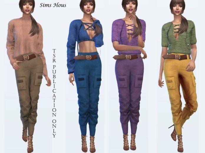 Женские брюки стиля карго от Sims House для Sims 4