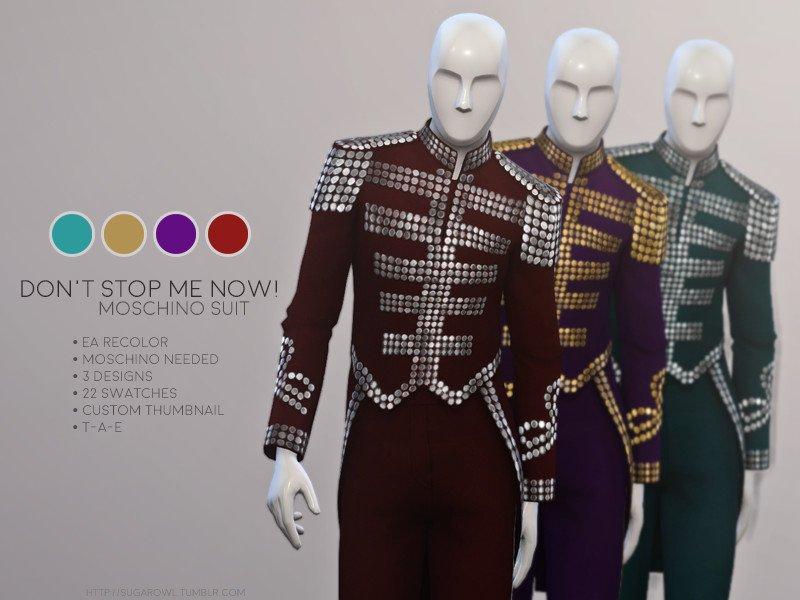 Мужской костюм с блестками от sugar owl для Sims 4