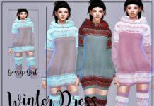 Зимнее платье для женщин от GossipGirl-S4 для Sims 4