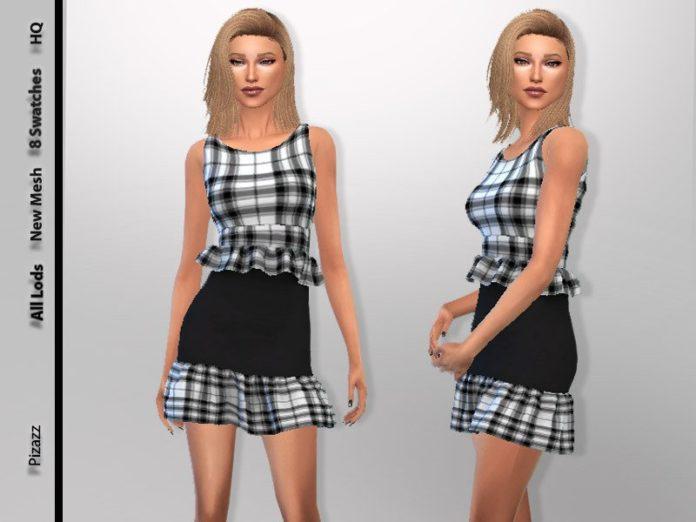 Женское платье в клетку от pizazz для Sims 4