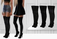 Женские ботфорты на каблуке от ShakeProductions для Sims 4