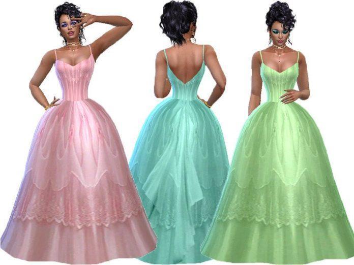 Бальное платье «Лили» от TrudieOpp для Sims 4