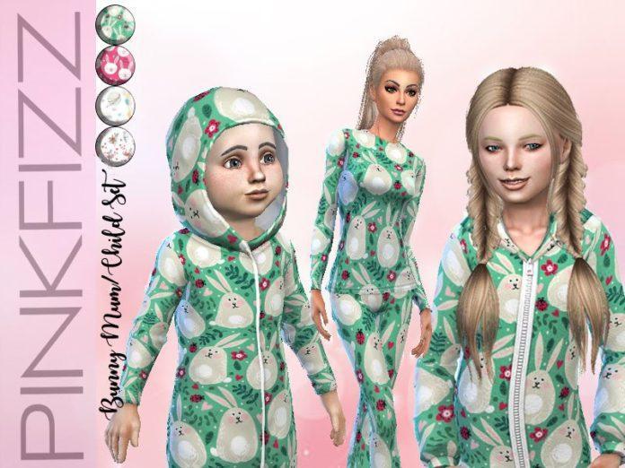 Пижамы для мамы и дочки от Pinkfizzzzz для Sims 4