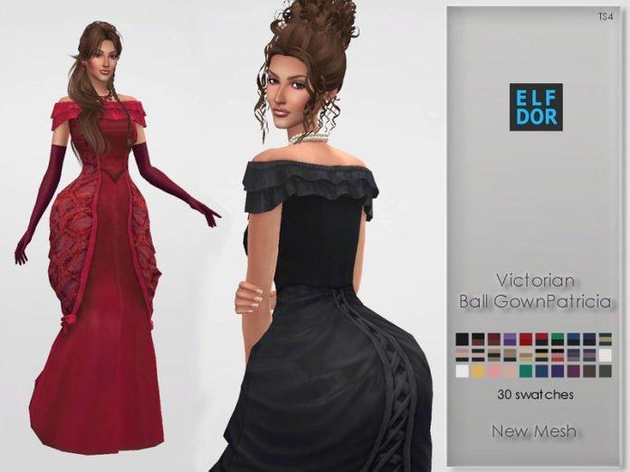 Викторианское бальное платье от Elfdor для Sims 4