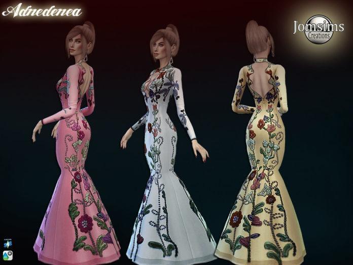 Женское вечернее платье с вышивкой от jomsims для Sims 4