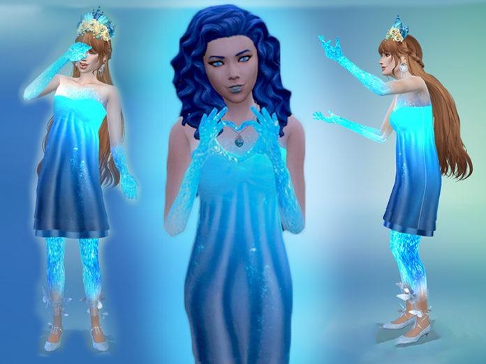 Женское платье «Синева льда» от Zaneida для Sims 4